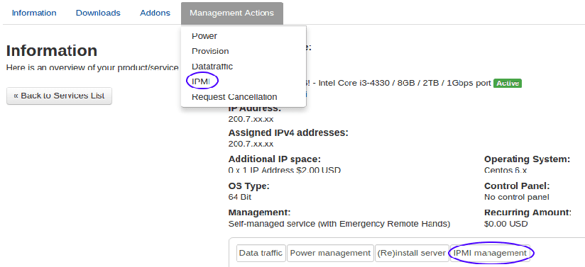 Using IPMI for administrating a server
