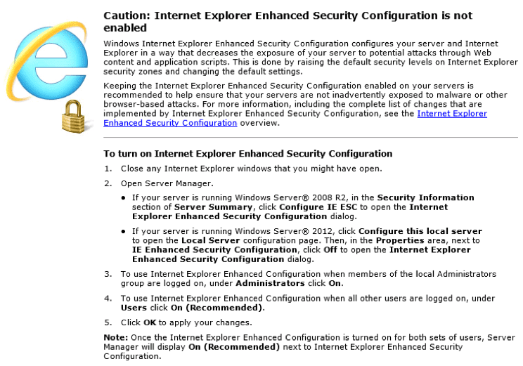 How to disable Internet Explorer Enhanced Security on Windows VPS?